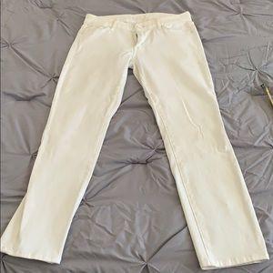 MOTHER Midrise White Denim Jeans